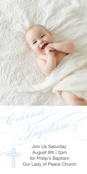 Christening + Baptism Flat Glossy Photo Paper Cards with Envelopes, 4x8, Card & Stationery -Baptismal Blessings - Celestial Blue
