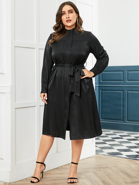 YOINS Plus Size Black With Belt Dress