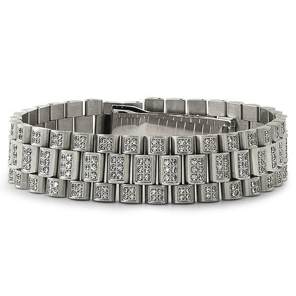 Stainless Steel Full CZ President Bracelet