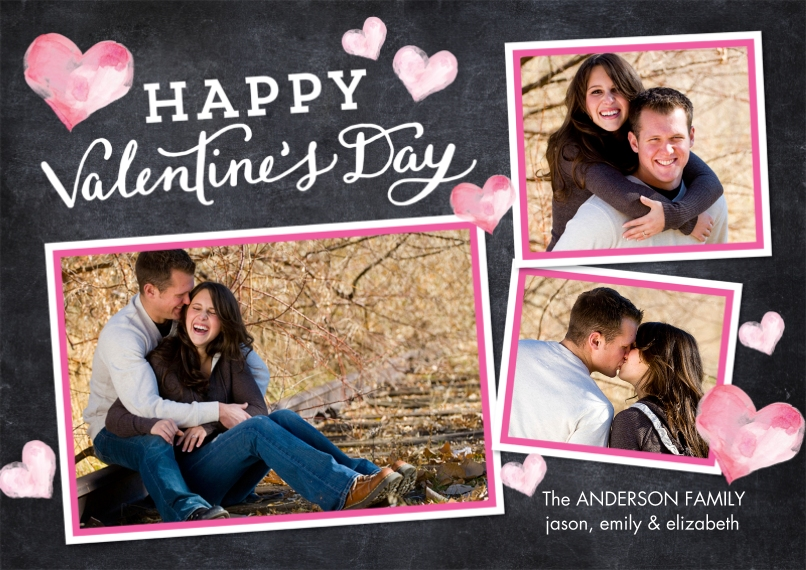 Valentine's Cards Flat Glossy Photo Paper Cards with Envelopes, 5x7, Card & Stationery -Valentine Watercolor Hearts
