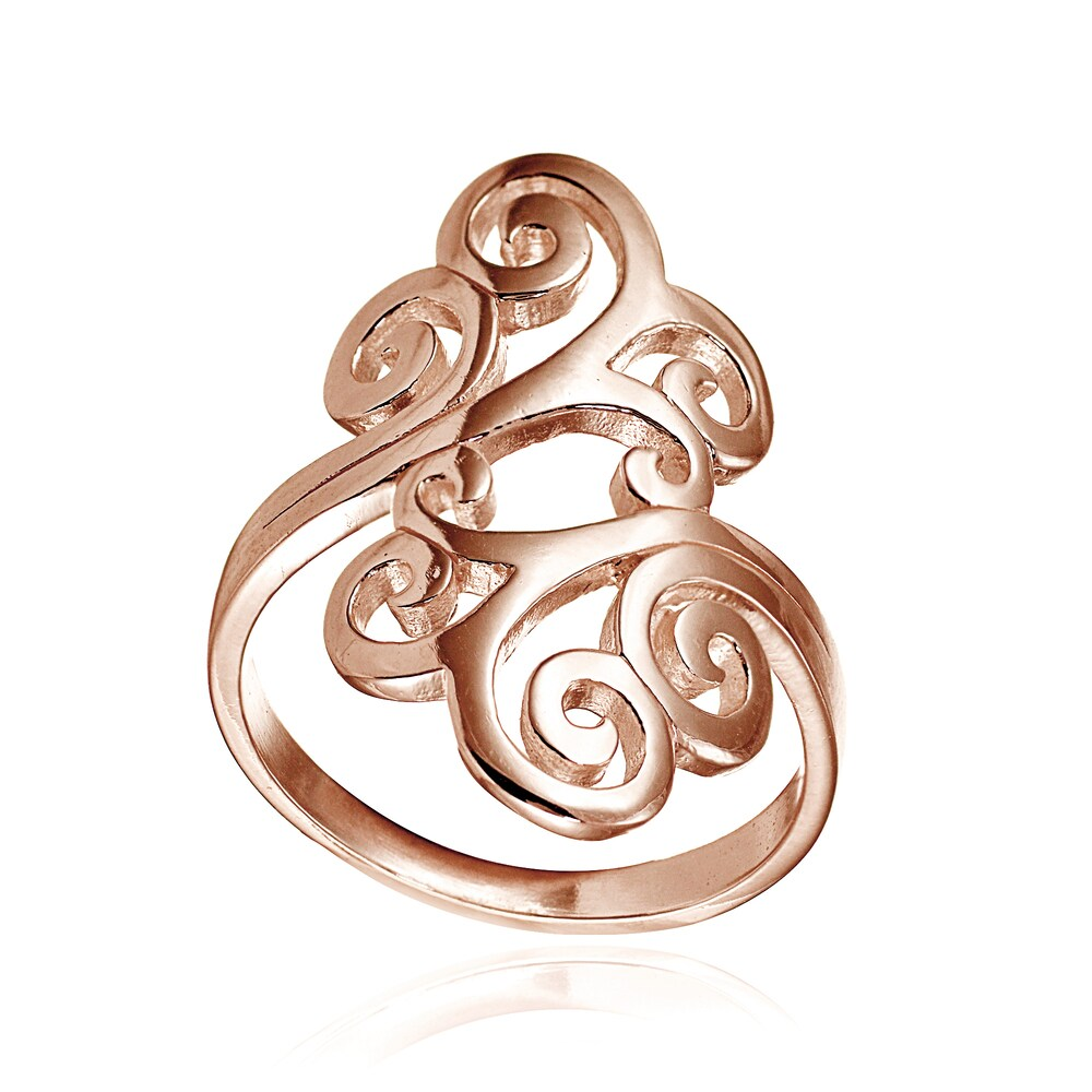 Mondevio 18k Rose Gold Over Sterling Silver High Polished Open Filigree Ring (8)