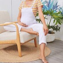 Maternity Einfarbige Denim Overalls mit gerolltem Saum
