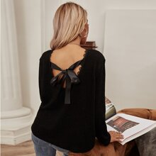 Lace Trim Tie Back Solid Tee