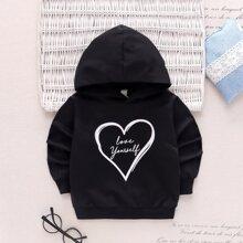 Hoodie mit Herzen und Buchstaben Grafik