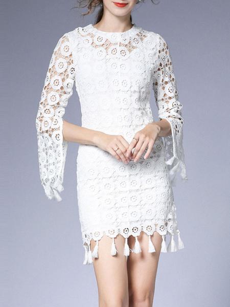 Milanoo Vestidos ajustados blancos Vestido corto con flecos y medias mangas con cuello joya para mujer