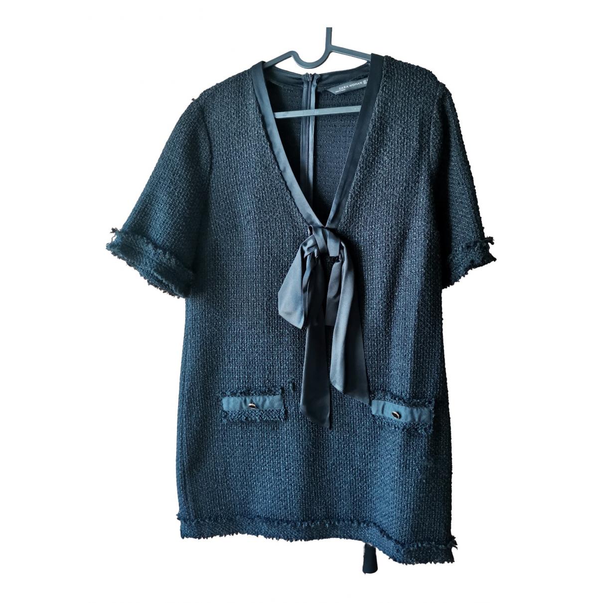 Zara - Robe   pour femme en tweed - noir