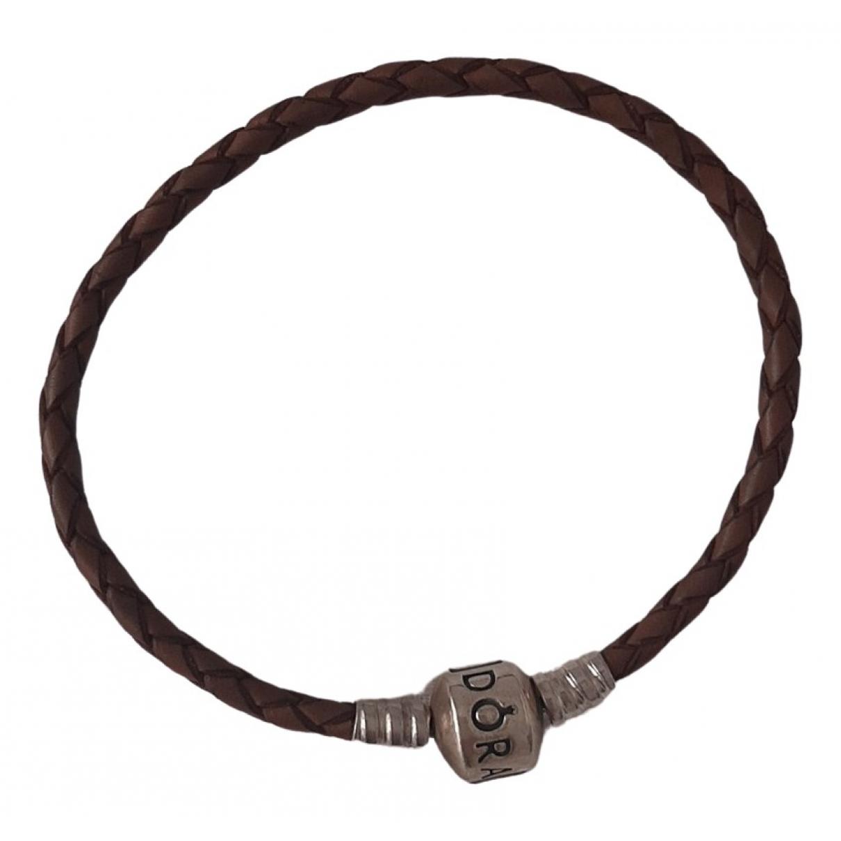 Pandora - Bracelet   pour femme en cuir - marron