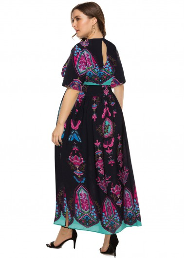 Bohemian Print Keyhole Back Plus Size Maxi Dress - 4XL