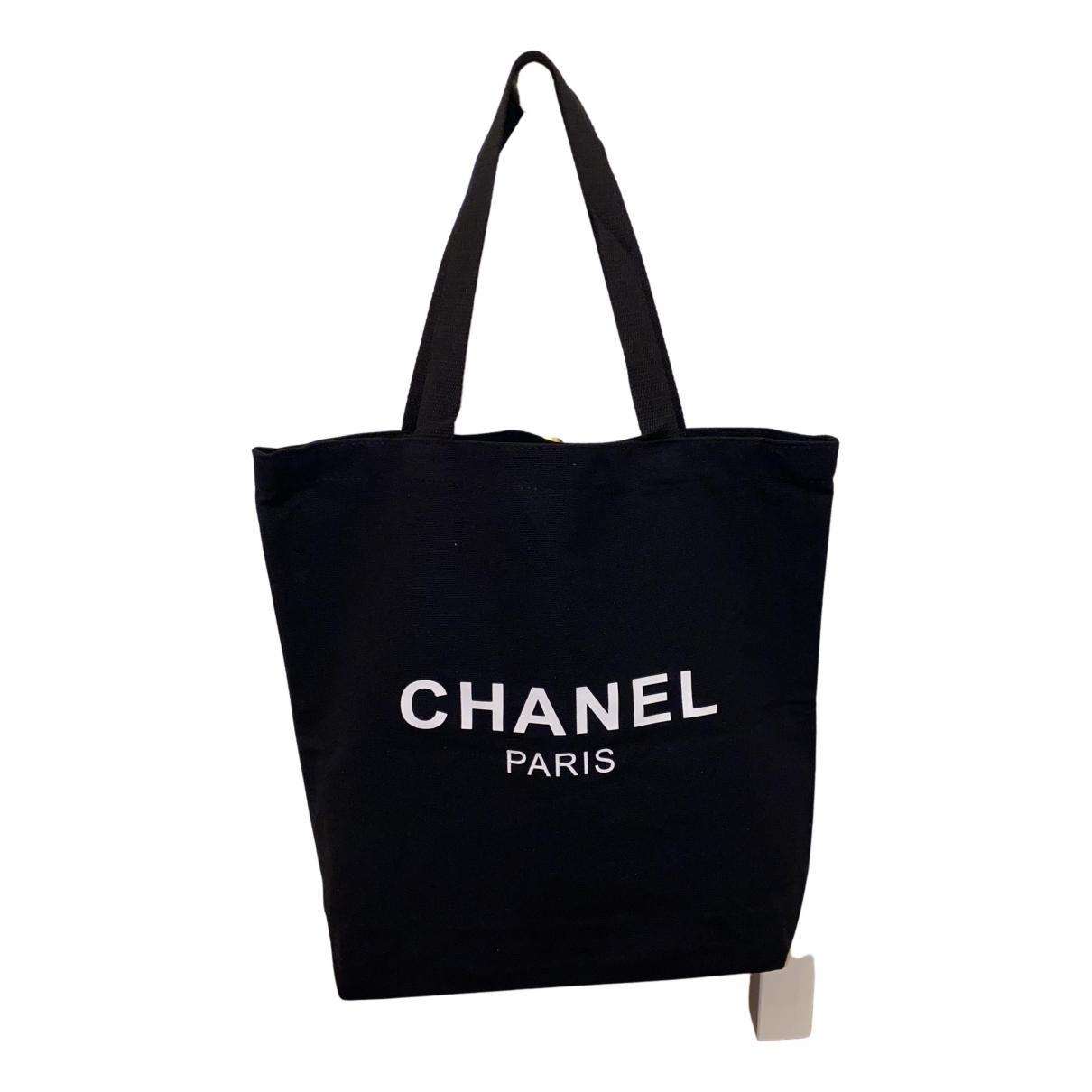 Bolso de mano en Algodon Negro Chanel