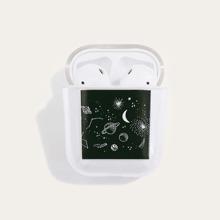 1 pieza funda de airpods con patron de planeta