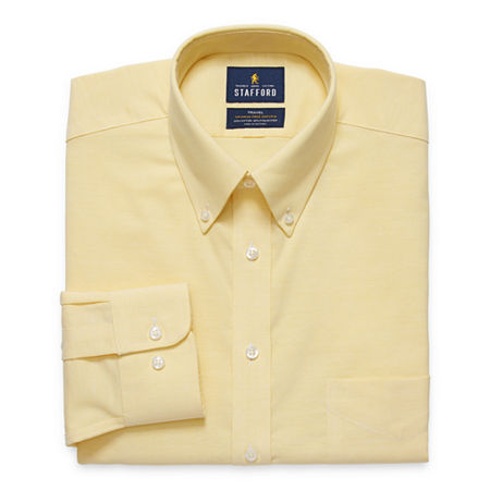 Stafford Mens Wrinkle Free Oxford Button Down Collar Fitted Dress Shirt, 15 34-35, Yellow