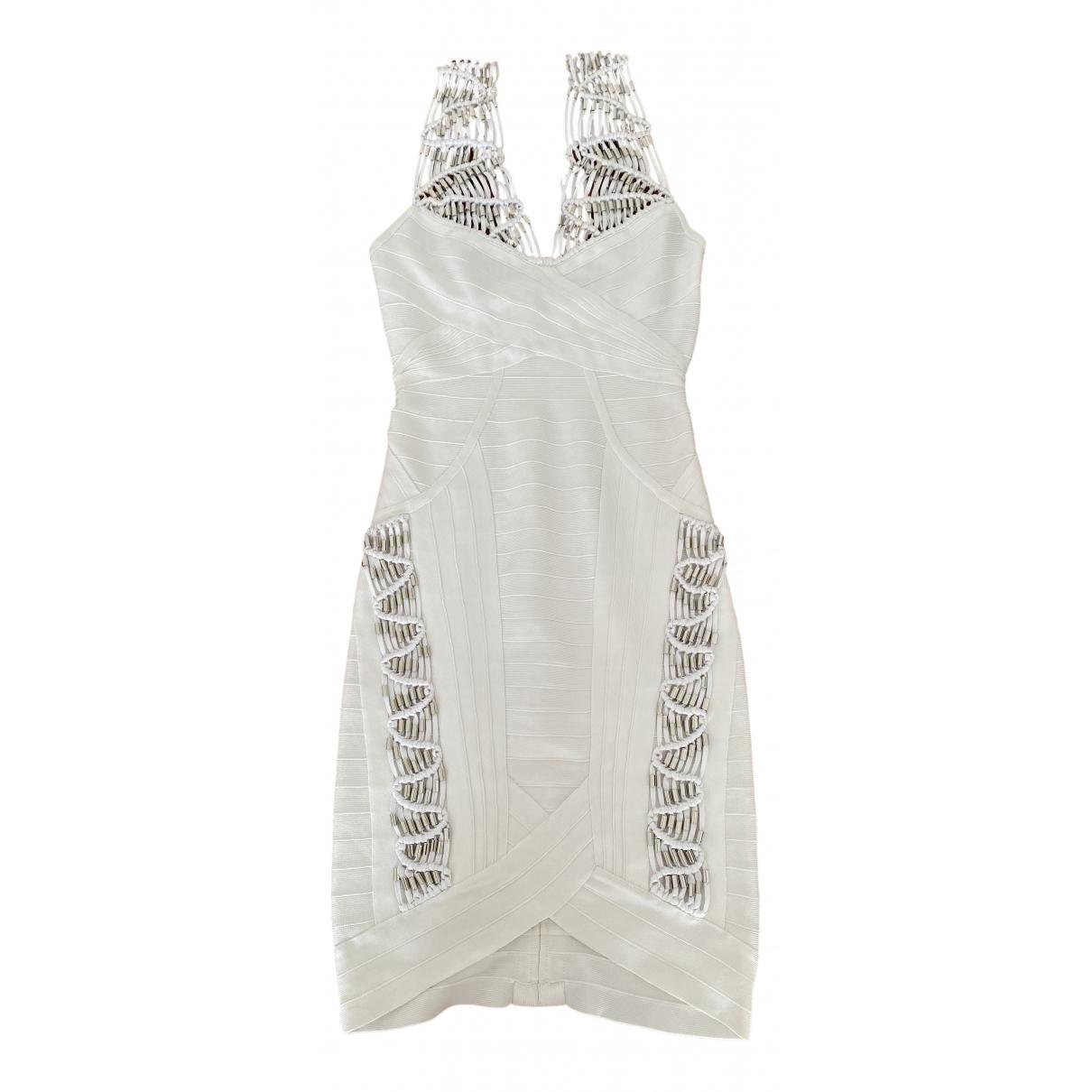 Herve Leger - Robe   pour femme en coton - elasthane - blanc