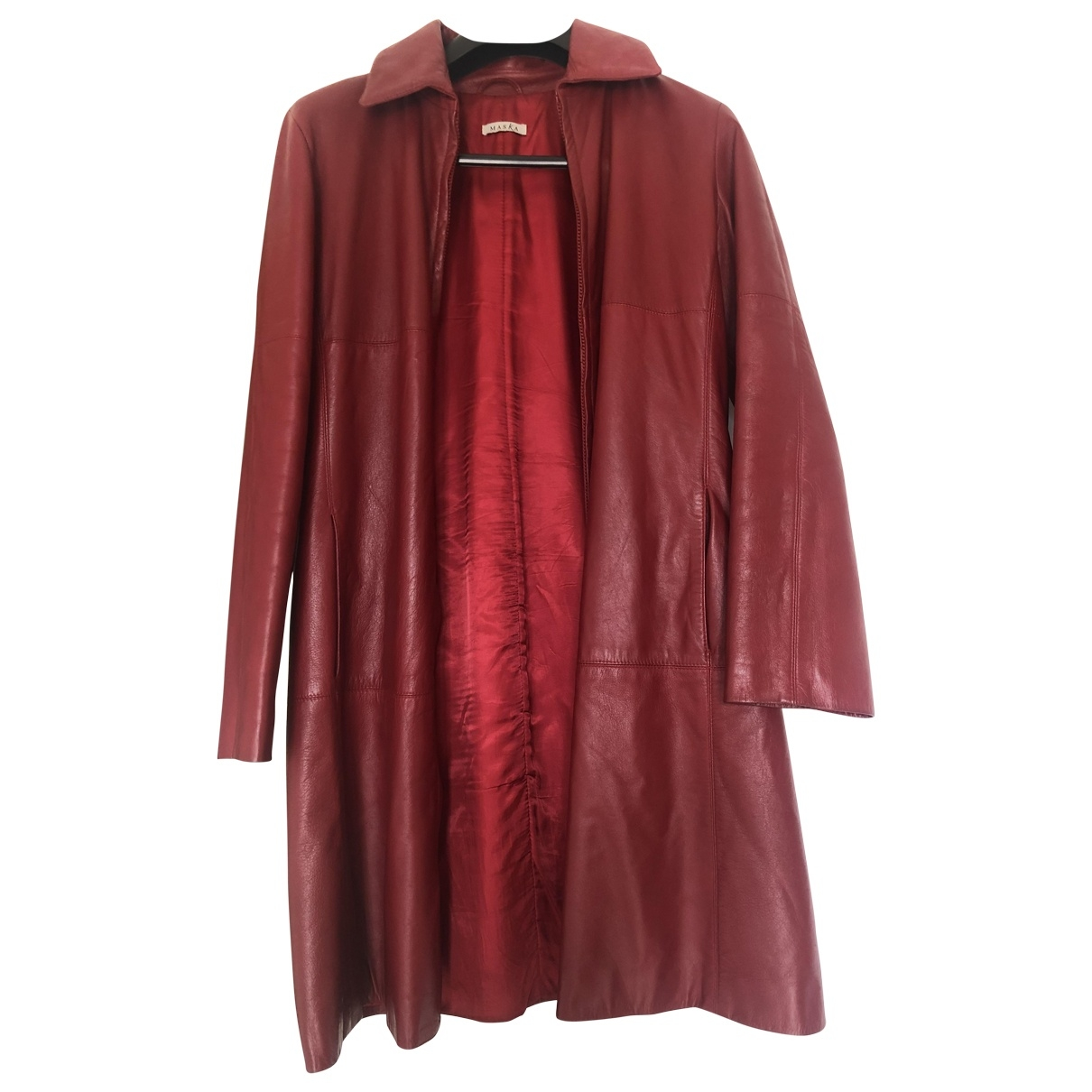 Maska \N Red Leather coat for Women 42 IT