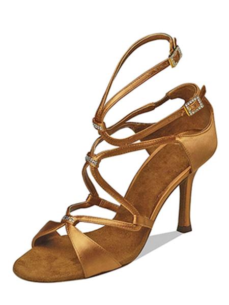 Milanoo Zapatos de bailes latinos de puntera abierta de tacon de stiletto de saten para baile