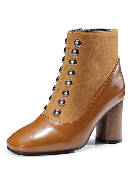 Milanoo Women Ankle Boots Square Toe Chunky Heel 2.8 Booties