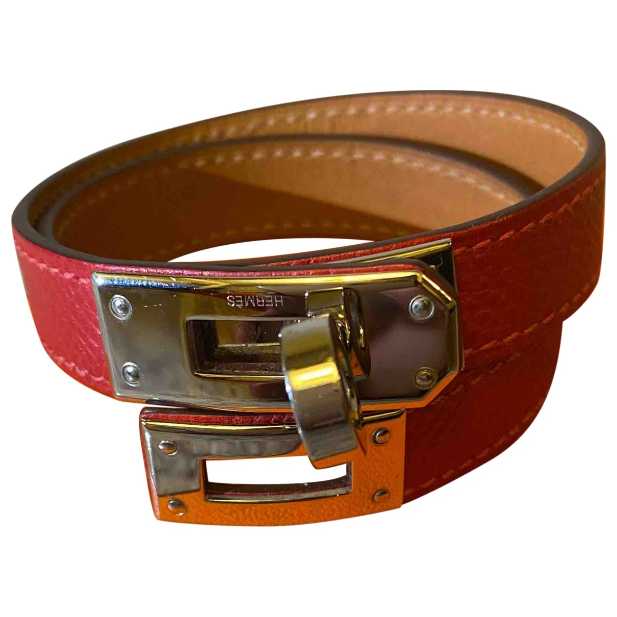 Hermes Kelly Double Tour Armband in  Rot Exotenleder