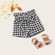 Toddler Girls Houndstooth Paperbag Waist Belted Shorts