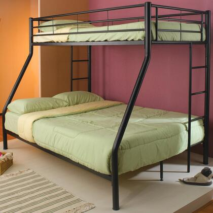 Denley Collection 460062B Twin over Full Bunk Bed with Full Length Guard Rails  Built-In Ladder and Metal Construction in Black