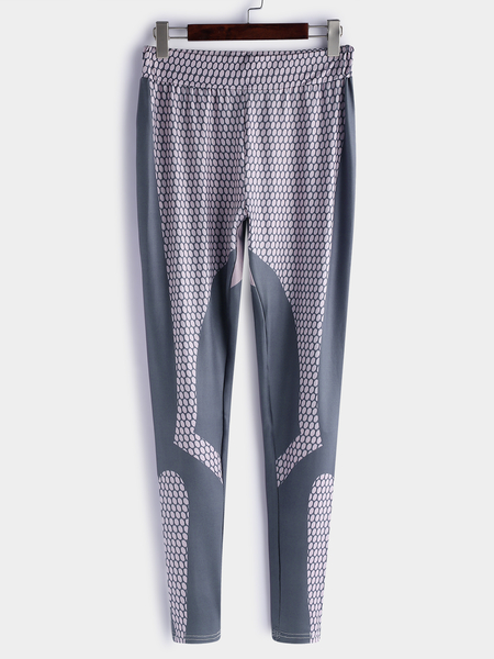 Yoins Active Geometrical Pattern Gym Leggings in Grey