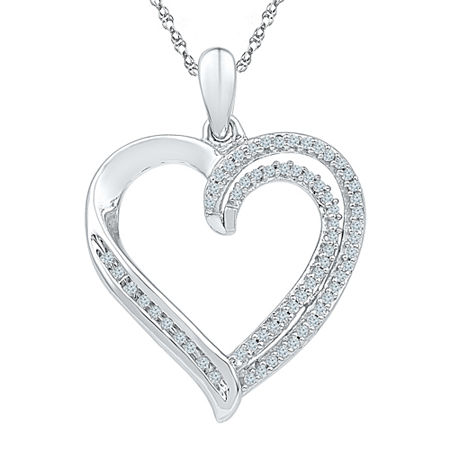 Womens 1/4 CT. T.W. White Diamond Sterling Silver Pendant Necklace, One Size , No Color Family