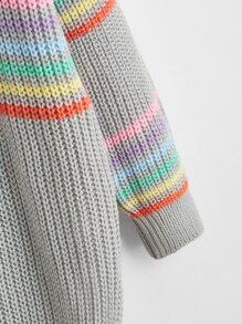 Plus V-Neck Rainbow Striped Sweater