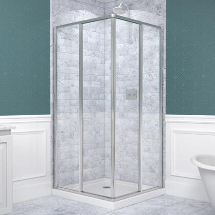 DL-6710-01 Cornerview 36 In. X 36 In. Framed Sliding Shower Enclosure In Chrome With White Acrylic Base