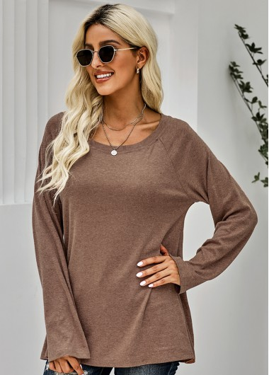 Long Sleeve Brown Round Neck T Shirt - M