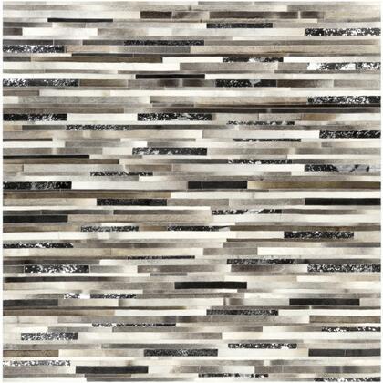 Trail TRL-1120 8' Square Modern Rugs in Black  Dark Brown  Metallic - Silver