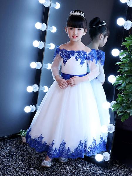 Milanoo Flower Girl Dresses Off The Shoulder Royal Blue Pageant Dress Lace Applique Bow Sash Kids Long Party Dresses