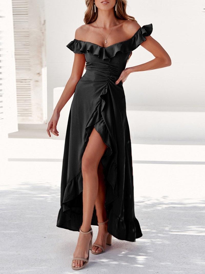 Ericdress Ankle-Length Patchwork Off Shoulder Party/Cocktail Cold Shoulder Dress