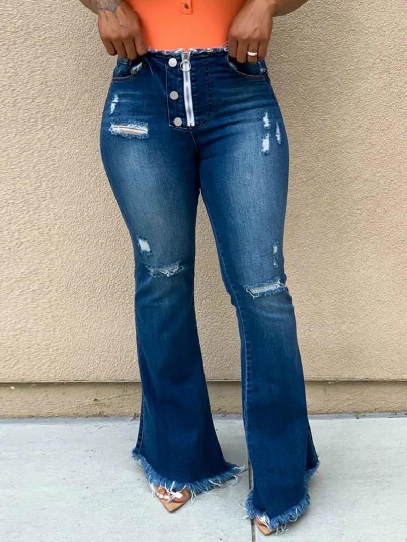 Ericdress Plain Bellbottoms Hole Slim High Waist Jeans