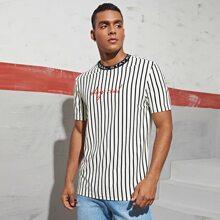 T-Shirt mit Kontrast Kragen, Buchstaben Stickereien und Streifen
