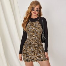 Tied Backless Leopard Dress