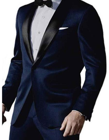 Men's James Bond Satin Shawl Lapel 1 Button Midnight Blue Tuxedo Suit