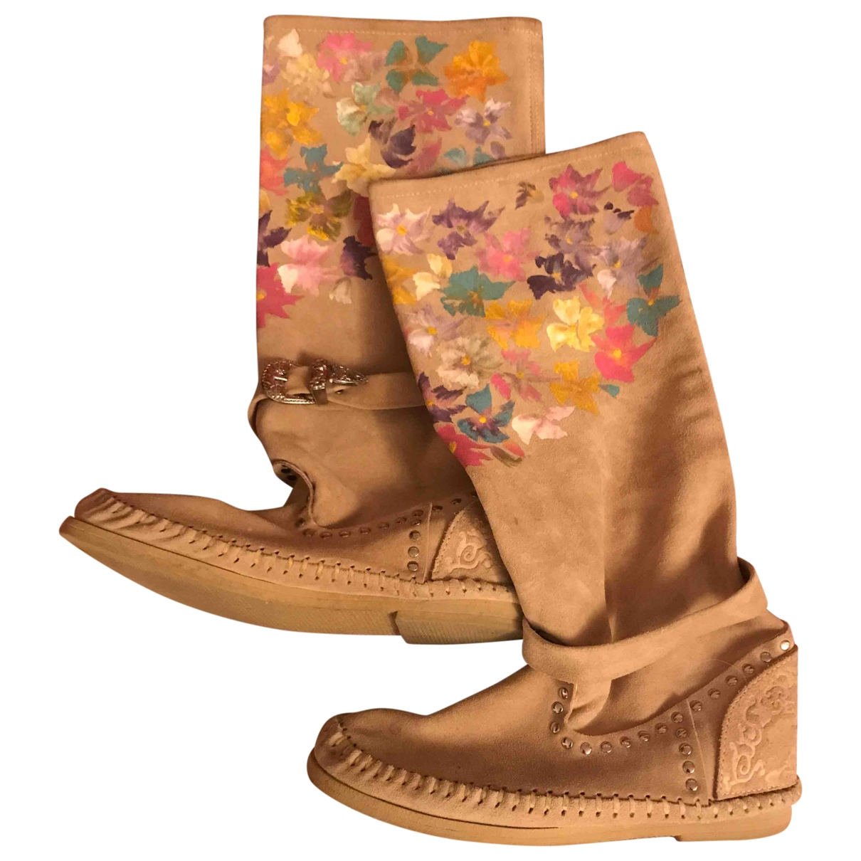 Non Signé / Unsigned \N Beige Suede Ankle boots for Women 39 EU