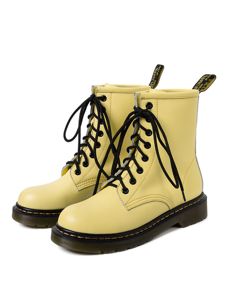 Milanoo Women Cowhide Combat Boots Lace Up Round Toe Flat Boots