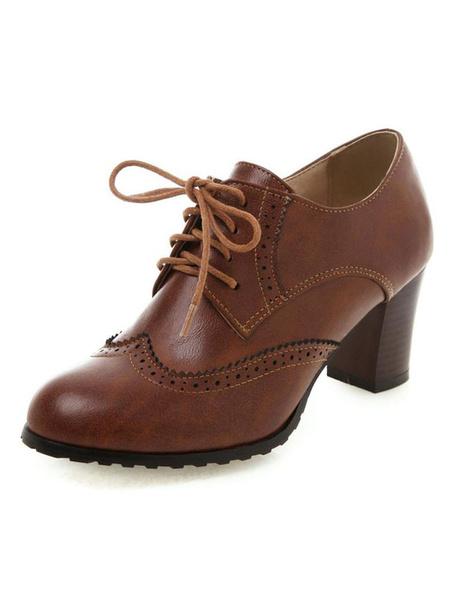 Milanoo Zapatos de mujer de moda Oxfords Lace Up Vintage Mujer