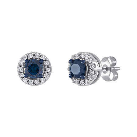 1/2 CT. T.W. White and Color-Enhanced Blue Diamond Stud Earrings, One Size , White