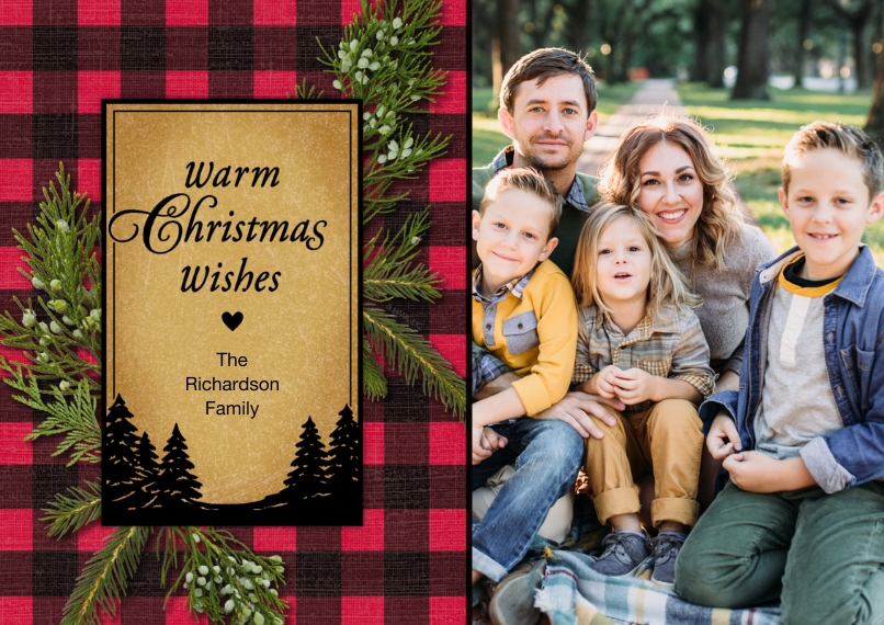 Christmas Photo Cards Flat Matte Photo Paper Cards with Envelopes, 5x7, Card & Stationery -Warm Plaid Christmas Wishes Photo Card by Hallmark