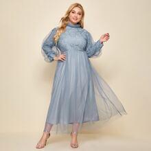 A-Linie Kleid mit Kontrast Spitzen und Netzstoff
