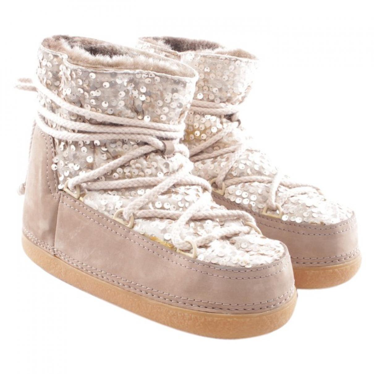 Ikkii - Boots   pour femme en cuir - beige