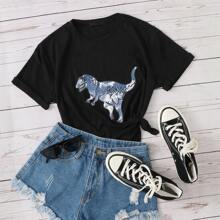 T-Shirt mit Dinosaurier Muster