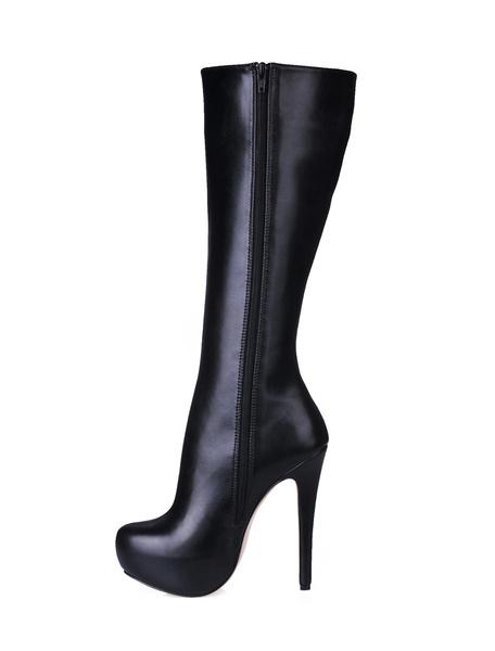 Milanoo Botas hasta la rodilla de puntera redonda negro  Botas altas mujer 14cm botas altas negras de tacon de stiletto Invierno Oficina/Trabajo 3cm