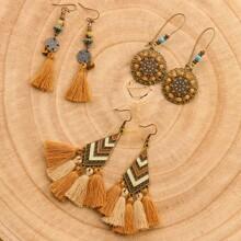 3pairs Tribal Tassel Drop Earrings