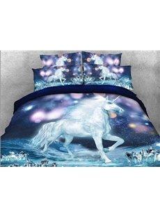 Vivilinen 3D White Unicorn and Sparkling Lights Printed 5-Piece Comforter Sets