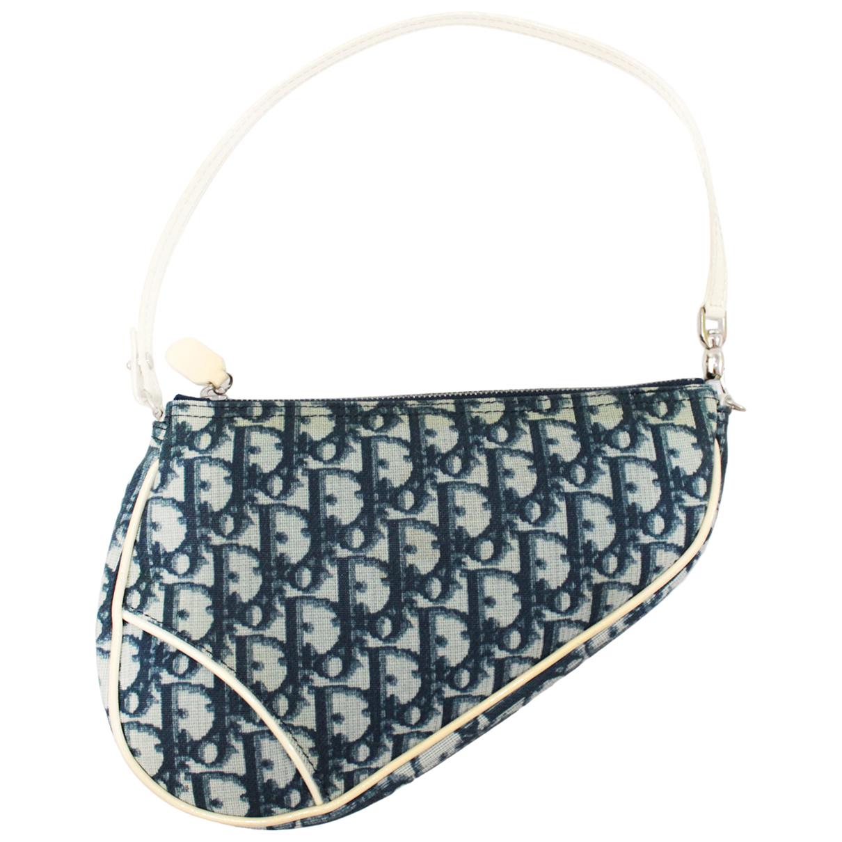 Dior Saddle Handtasche in  Blau Leinen