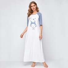 Cartoon Graphic Raglan Sleeve Nightdress