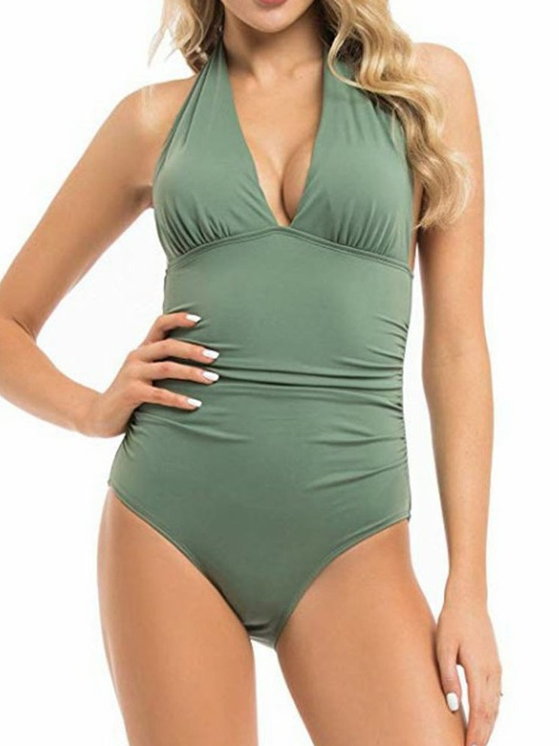 Ericdress V-Neck Plain Pleated Stretchy Lace-Up Swimwear