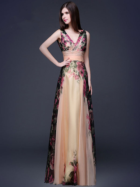Milanoo Floral Maxi Dress 2020 Chiffon Party Dress Women V Neck Sleeveless Long Summer Dress