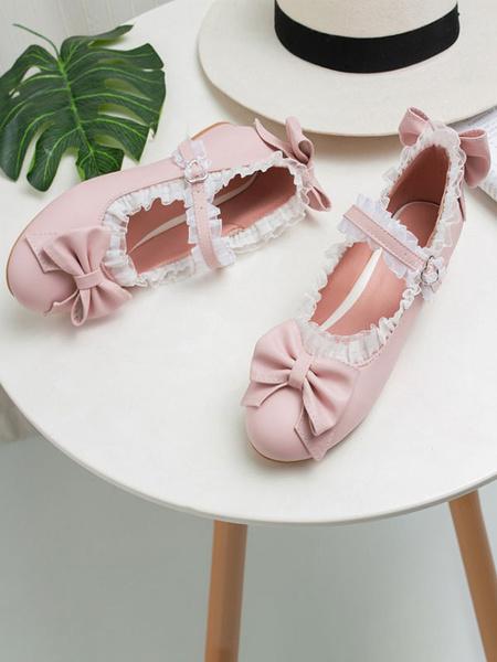 Milanoo Sweet Lolita Footwear Bows Lace Toe Round PU Leather Lolita Pumps